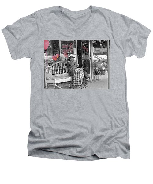 Tickled Pink Men's V-Neck T-Shirt by Bartz Johnson