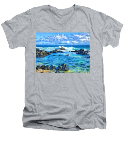 Tide Pool Near Hana Maui Men's V-Neck T-Shirt