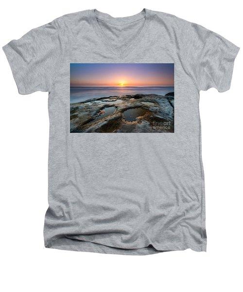 Tide Pool Sunset Men's V-Neck T-Shirt by Michael Ver Sprill