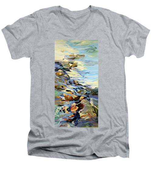 Men's V-Neck T-Shirt featuring the painting Tidepool 3 by Rae Andrews