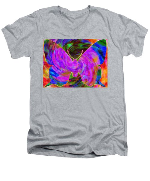 Tie-dye Butterfly Men's V-Neck T-Shirt