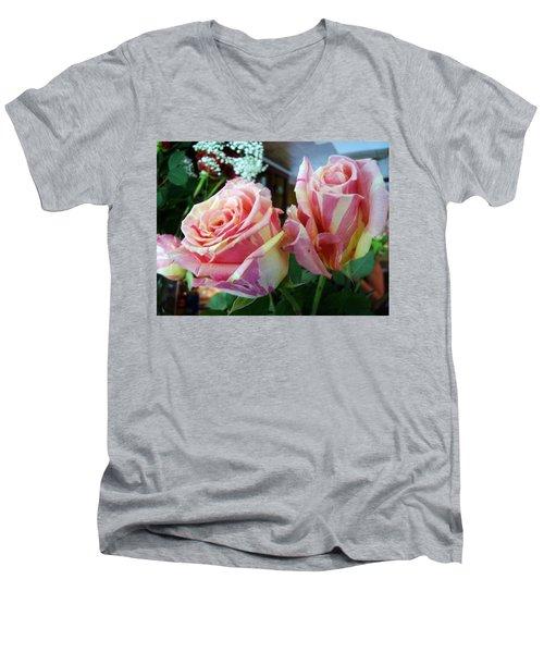 Tie Dye Roses Men's V-Neck T-Shirt by Deborah Lacoste
