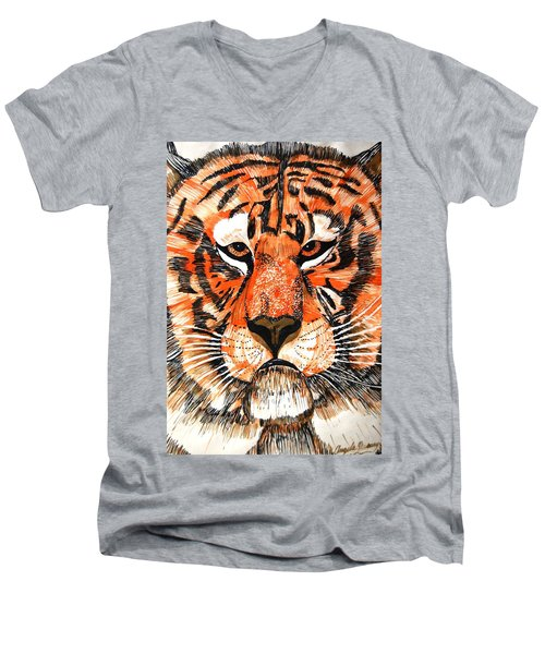 Tiger Men's V-Neck T-Shirt by Angela Murray