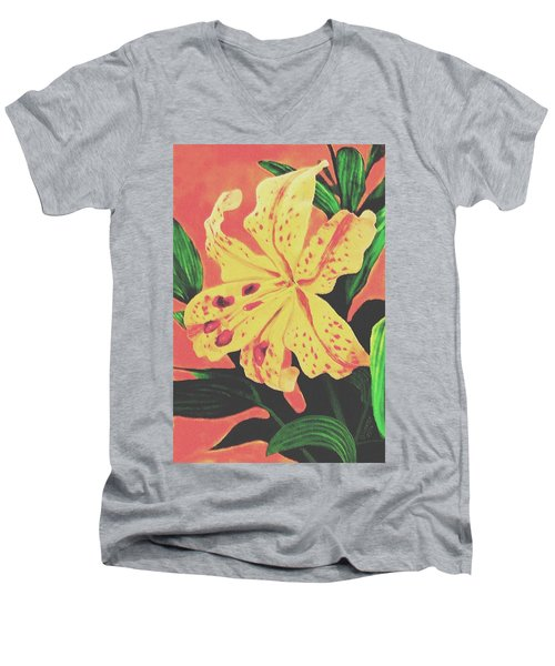 Tiger Lily Men's V-Neck T-Shirt by Sophia Schmierer