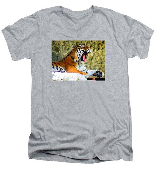 Tiger Men's V-Neck T-Shirt by Oleg Zavarzin