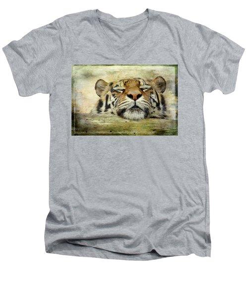 Tiger Snooze Men's V-Neck T-Shirt by Athena Mckinzie