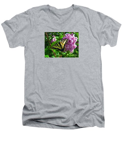 Men's V-Neck T-Shirt featuring the photograph Tiger Swallowtail by Janice Westerberg