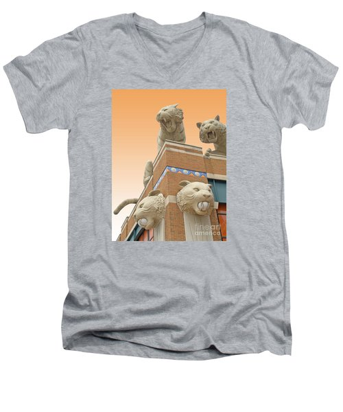 Tiger Town Men's V-Neck T-Shirt by Ann Horn