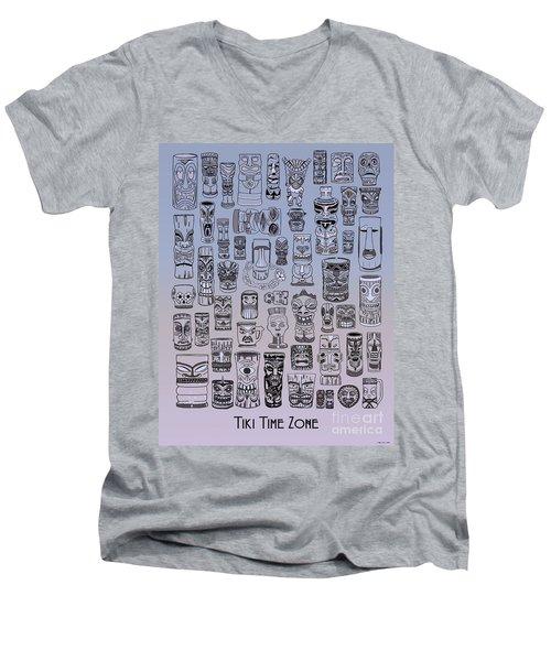 Tiki Cool Zone Men's V-Neck T-Shirt by Megan Dirsa-DuBois