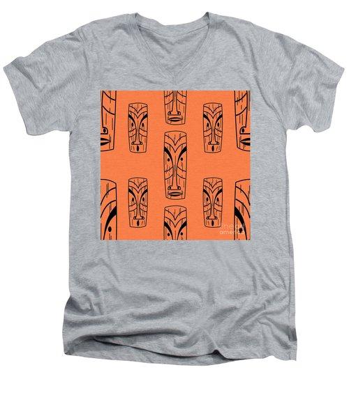 Tiki On Orange Pillow Men's V-Neck T-Shirt