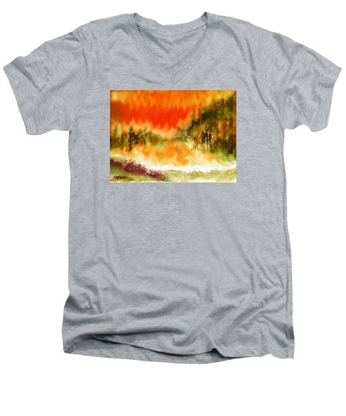 Men's V-Neck T-Shirt featuring the mixed media Timber Blaze by Seth Weaver