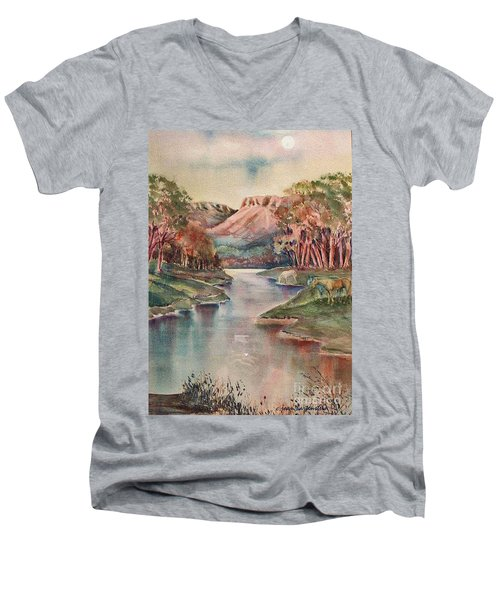 Men's V-Neck T-Shirt featuring the painting Timbercreek Canyon Dawn by Joan Hartenstein