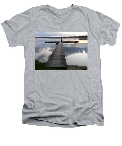 Time For Exploring Men's V-Neck T-Shirt by Mark Minier