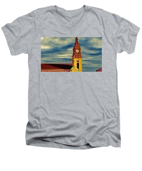 Men's V-Neck T-Shirt featuring the painting Time To Go by Jeff Kolker