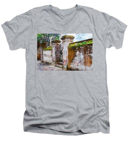 Men's V-Neck T-Shirt featuring the photograph Brick Wall Charleston South Carolina by Vizual Studio