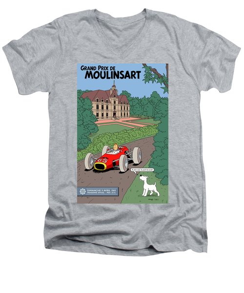Tintin Grand Prix De Moulinsart 1965  Men's V-Neck T-Shirt