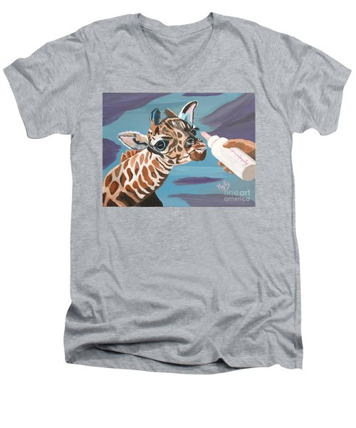 Tiny Baby Giraffe With Bottle Men's V-Neck T-Shirt by Phyllis Kaltenbach