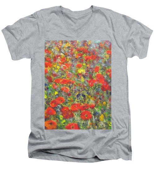 Men's V-Neck T-Shirt featuring the painting Tiptoe Through A Poppy Field by Richard James Digance