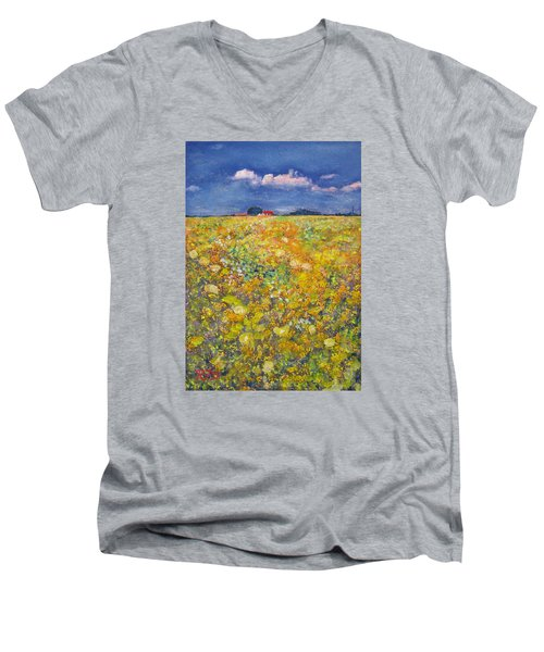 Men's V-Neck T-Shirt featuring the painting tiptoe Through Summer Meadow by Richard James Digance