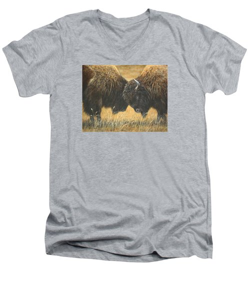 Men's V-Neck T-Shirt featuring the painting Titans Of The Plains by Kim Lockman