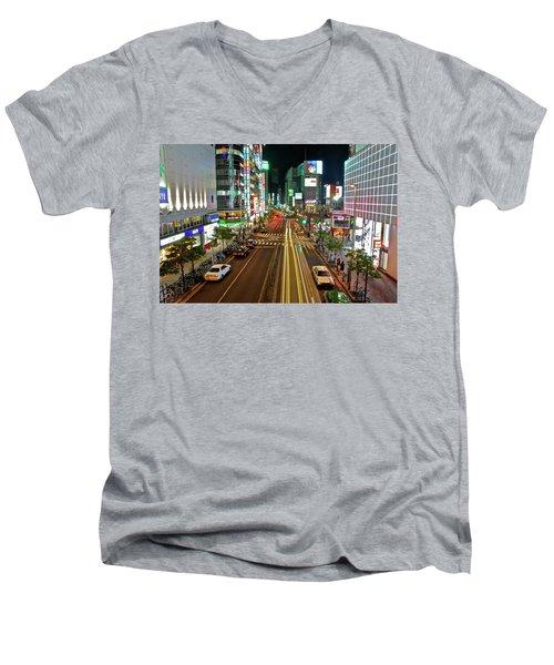 Tokyo Neon Streaks Men's V-Neck T-Shirt