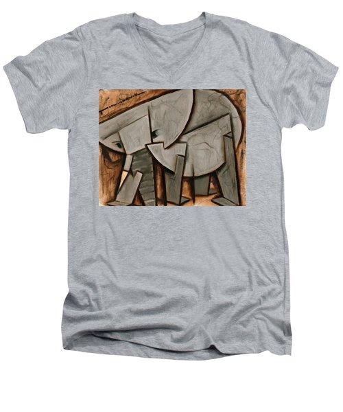 Abstract Cubism Elephant Art Print Men's V-Neck T-Shirt