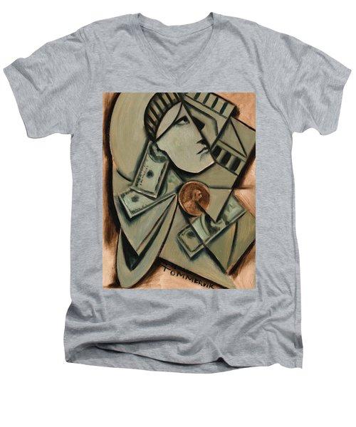 Tommervik Cubism New York Statue Of Liberty Art Print Men's V-Neck T-Shirt