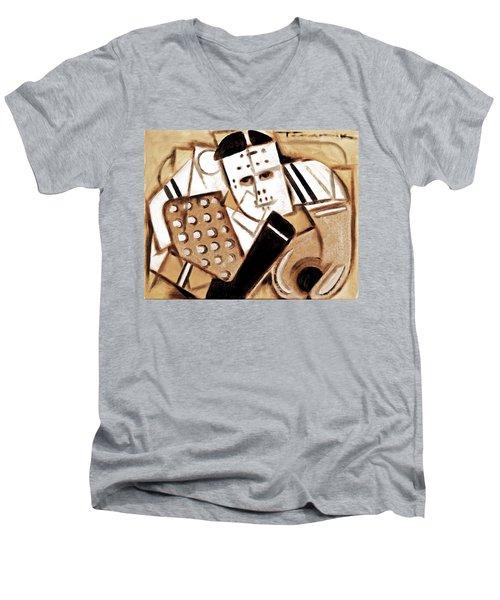 Vintage Hockey Goalie Art Print Men's V-Neck T-Shirt