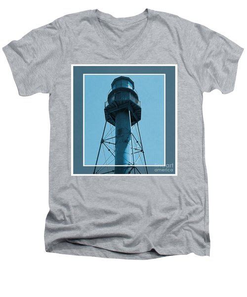 Men's V-Neck T-Shirt featuring the photograph Top Of Sanibel Island Lighthouse by Janette Boyd