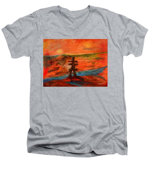 Men's V-Neck T-Shirt featuring the painting Top Of The World by Sher Nasser