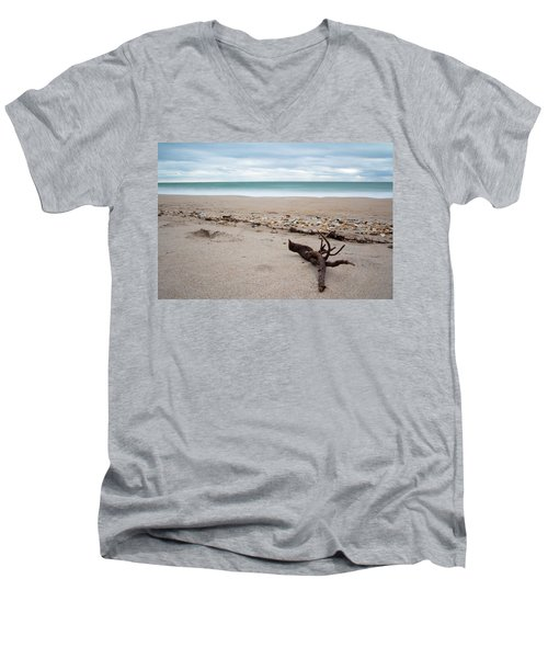Topsail Island Driftwood Men's V-Neck T-Shirt by Shane Holsclaw