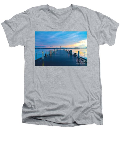 Toronto Pier During A Winter Sunset Men's V-Neck T-Shirt by Nina Silver