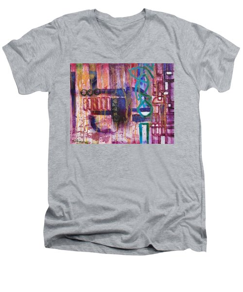 Men's V-Neck T-Shirt featuring the painting Tortured Links by Jason Williamson