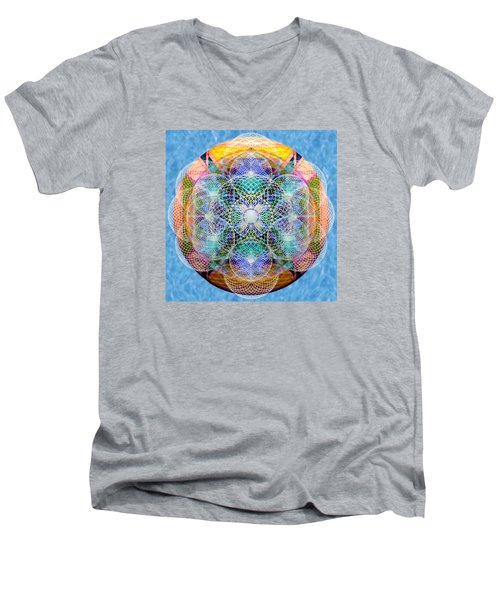 Men's V-Neck T-Shirt featuring the digital art Torusphere Synthesis Cell Firing Soulin IIi by Christopher Pringer