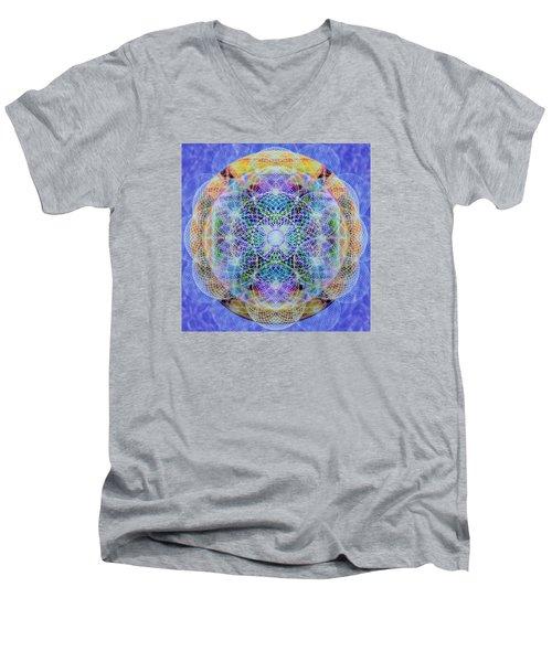 Men's V-Neck T-Shirt featuring the digital art Torusphere Synthesis Interdimensioning Soulin Iv by Christopher Pringer