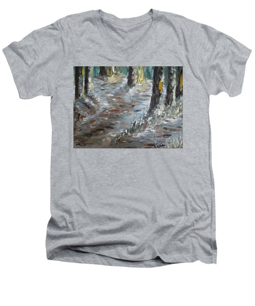 Men's V-Neck T-Shirt featuring the painting Touch Of Christmas by Teresa White