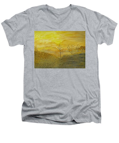 Touch Of Gold Men's V-Neck T-Shirt by Sonali Gangane