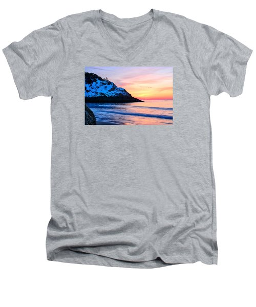 Touch Of Snow Singing Beach Men's V-Neck T-Shirt by Michael Hubley