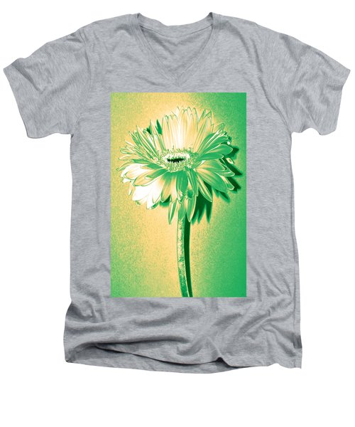 Touch Of Turquoise Zinnia Men's V-Neck T-Shirt by Sherry Allen