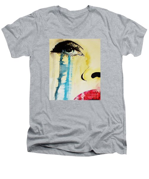 Men's V-Neck T-Shirt featuring the painting Tougher Than You Think 2 by Michael Cross