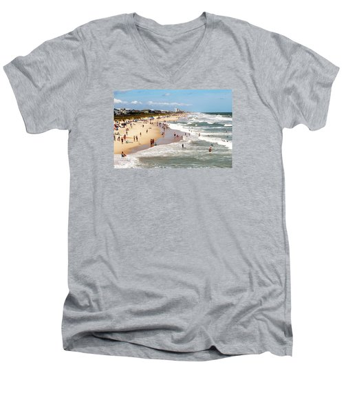Tourist At Kure Beach Men's V-Neck T-Shirt
