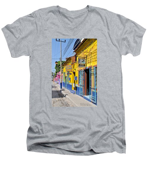 Men's V-Neck T-Shirt featuring the photograph Tourist Shops - Mexico by David Perry Lawrence