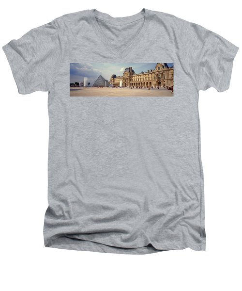 Tourists Near A Pyramid, Louvre Men's V-Neck T-Shirt by Panoramic Images
