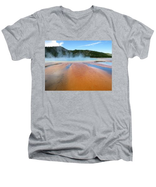 Men's V-Neck T-Shirt featuring the photograph Toward The Blue Stream by Laurel Powell