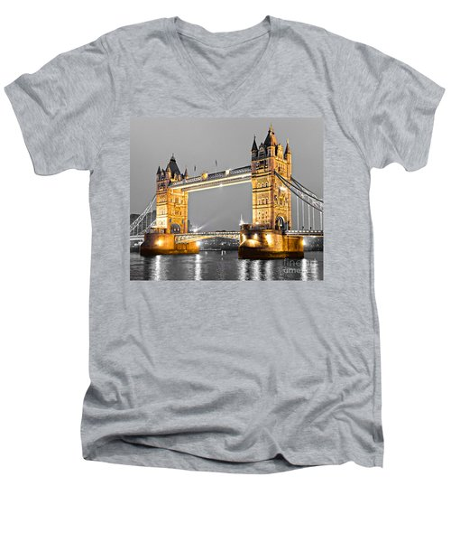 Tower Bridge - London - Uk Men's V-Neck T-Shirt by Luciano Mortula