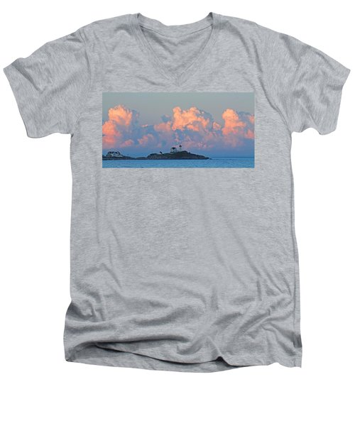 Towering Clouds Over Nubble Lighthouse York Maine Men's V-Neck T-Shirt