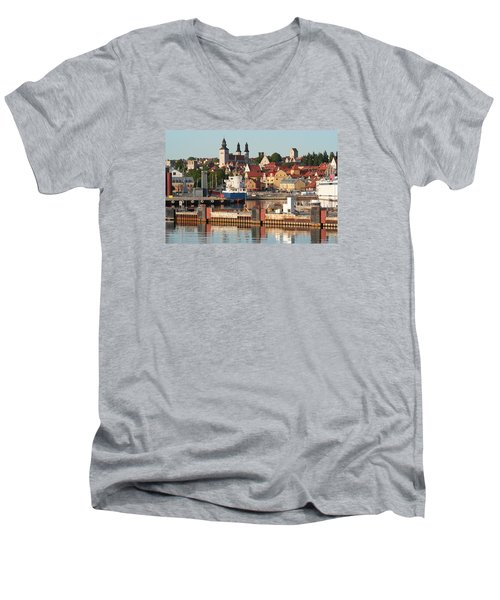 Men's V-Neck T-Shirt featuring the photograph Town Harbour by Dreamland Media