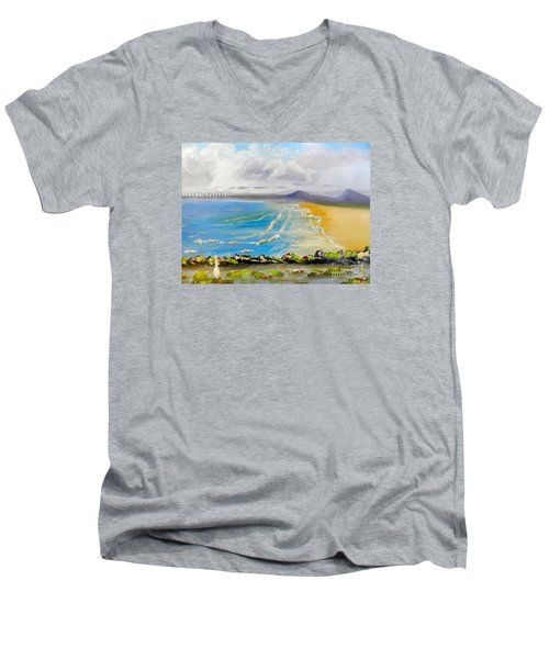 Towradgi Beach Men's V-Neck T-Shirt by Pamela  Meredith