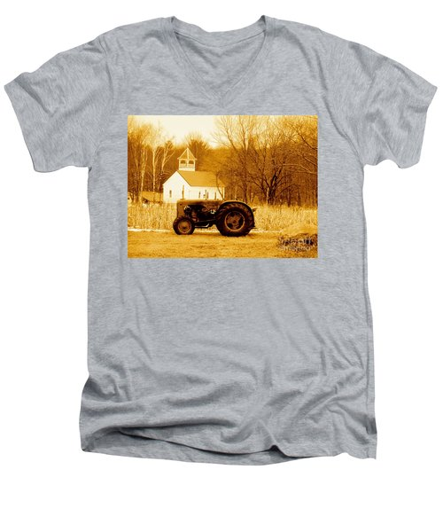 Tractor In The Field Men's V-Neck T-Shirt by Desiree Paquette