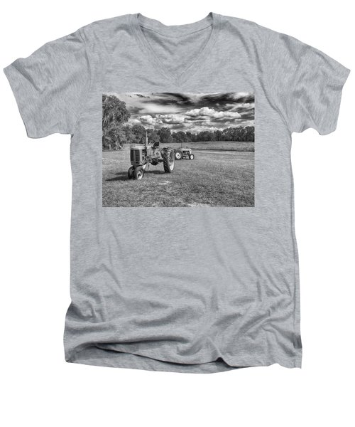 Men's V-Neck T-Shirt featuring the photograph Tractors by Howard Salmon